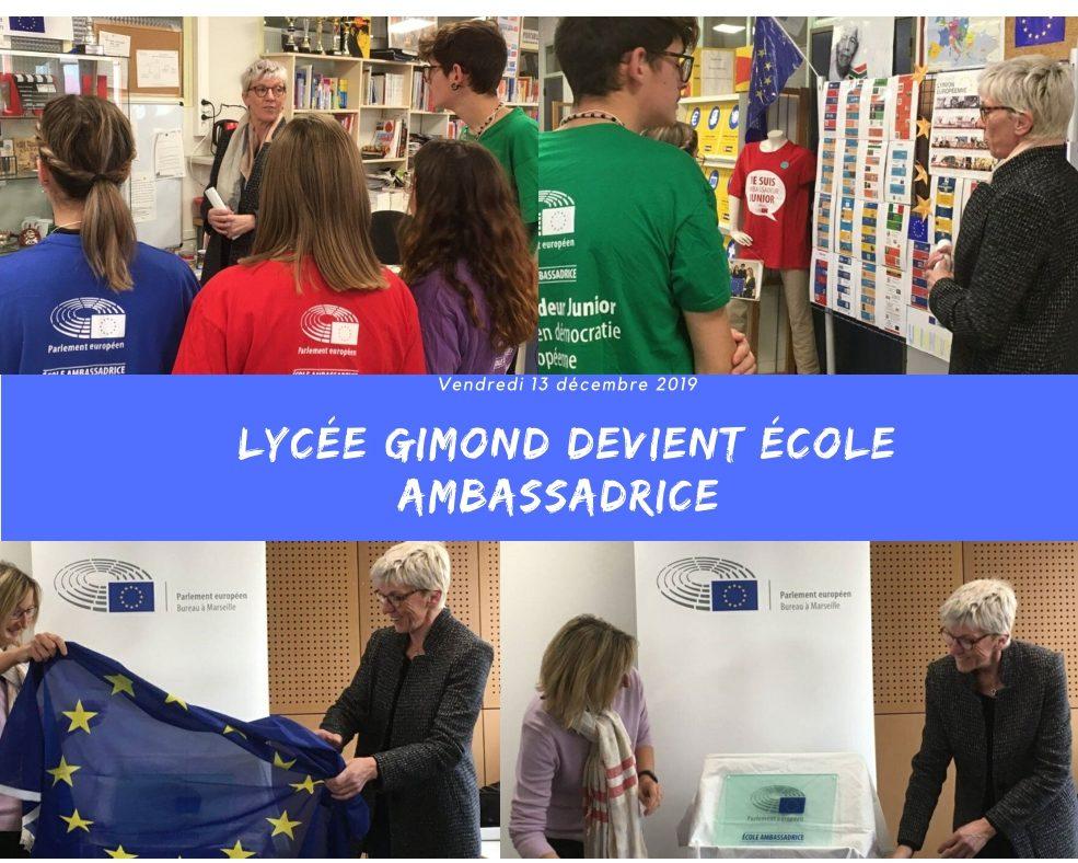 Le lycée Gimond labellisé Ecole Ambassadrice. Bravo aux élèves pour ce travail!